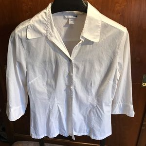 Woman's fitted button down blouse